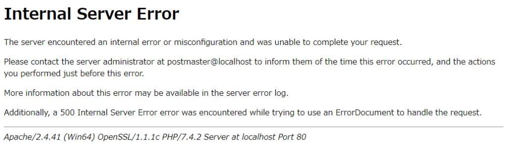 LaravelのInternal Server error