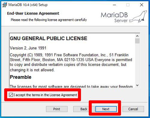 MariaDBインストール同意事項