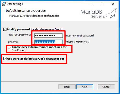 MariaDBパスワード設定