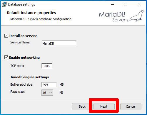 MariaDBネットワーク設定