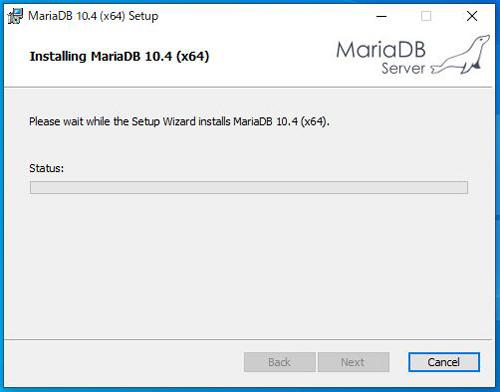MariaDBインストール中画面