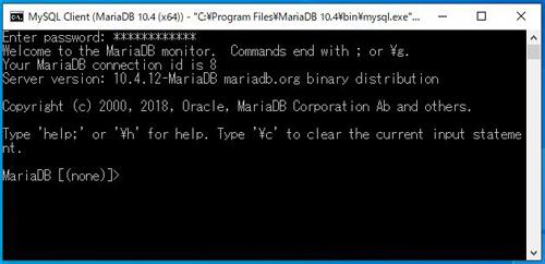 MariaDB接続完了画面